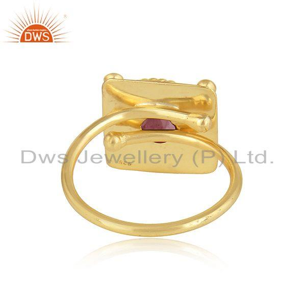 Suppliers Pink Tourmaline Gemstone Stackable Gold Plated 925 Silver Ring Jewelry