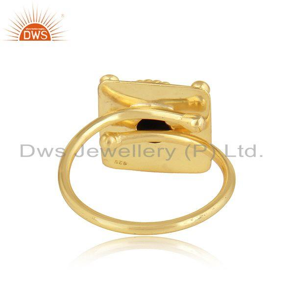 Suppliers Natural Black Onyx Gemstone Handmade Designer Gold Plated Silver Rings