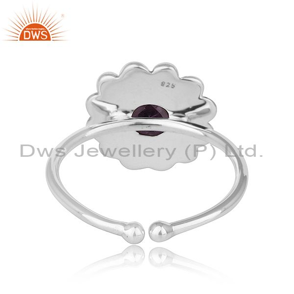 Suppliers Antique Oxidized 92.5 Silver Designer Amethyst Gemstone Ring Jewelry