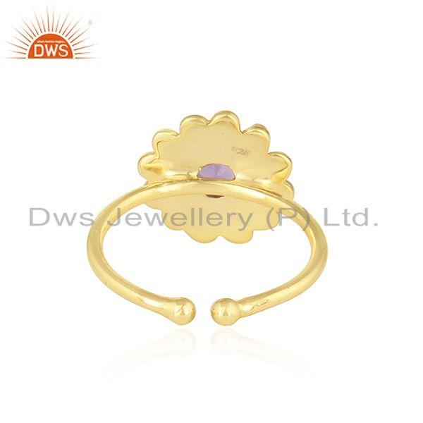 Suppliers Natural Amethyst Round Stackable Gold Plated Silver Designer Rings