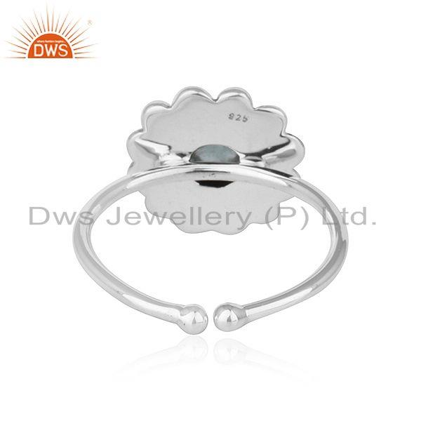 Suppliers Apatite Gemstone Round Stackable Sterling Silver Oxidized Ring Jewelry