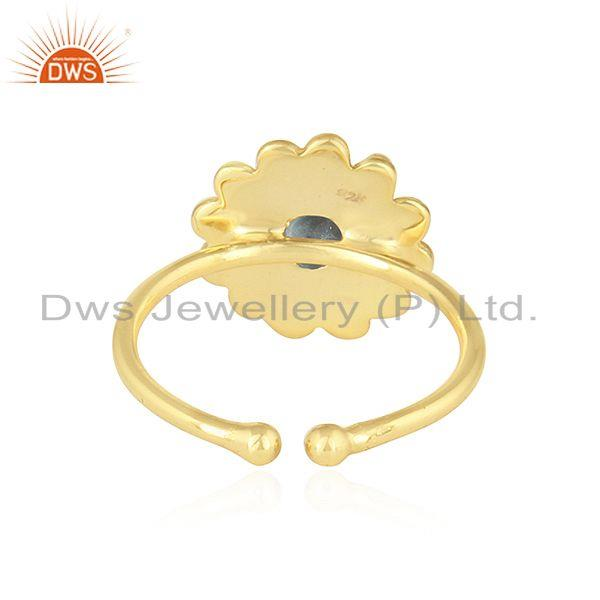 Suppliers Apatite Gemstone Gold Plated Designer Silver Stackable Ring Jewelry