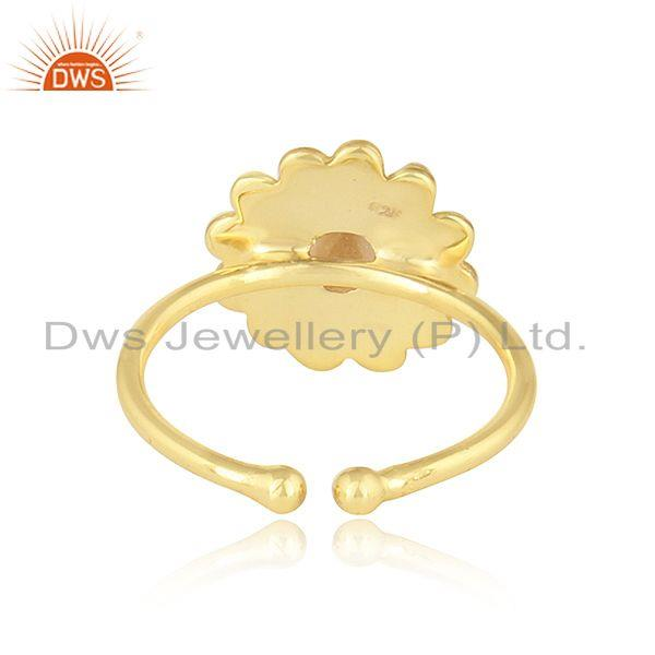 Suppliers Beautiful Round Design Gold Plated 925 Silver Citrine Gemstone Rings