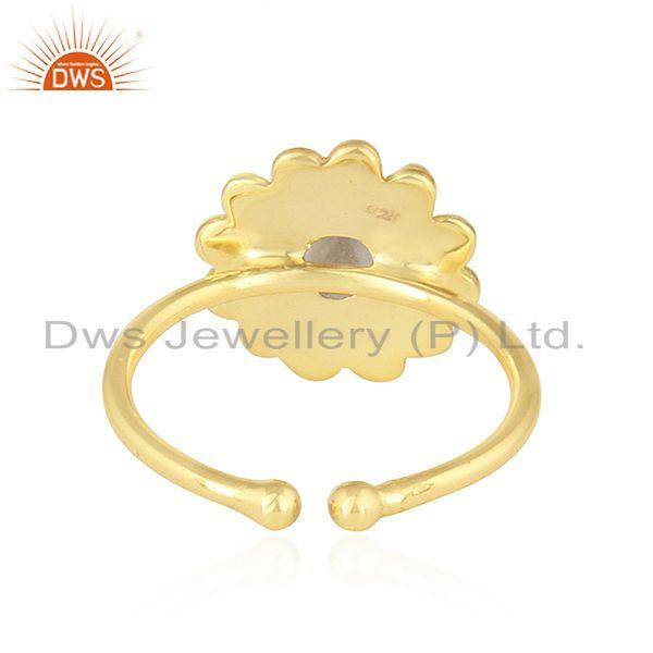 Suppliers Crystal Quartz Gemstone Designer Gold Plated Handmade 925 Silver Rings