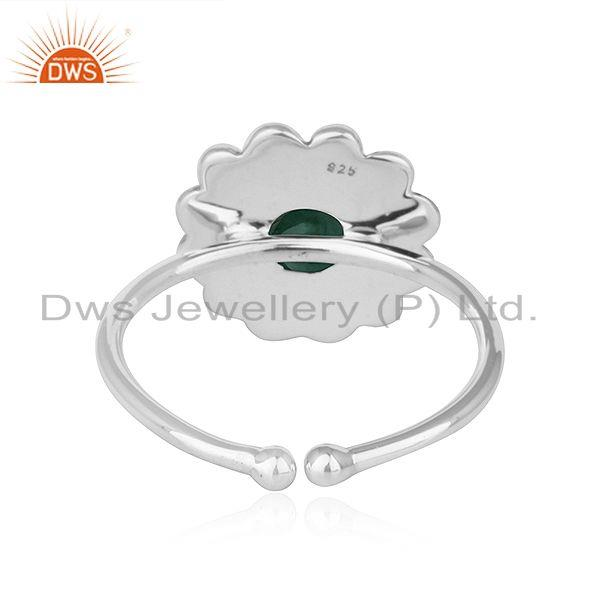 Suppliers Natural Emerald Gemstone Antique Design Oxidized Silver Ring Jewelry