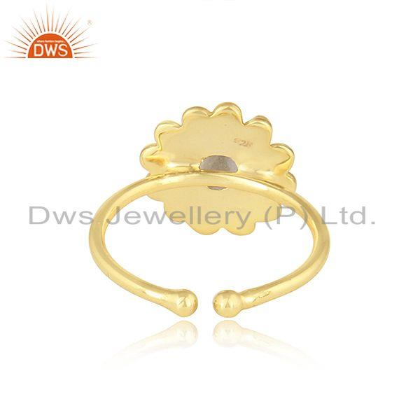 Suppliers Ethiopian Opal Gemstone Round Yellow Gold Plated Silver Stackable Ring