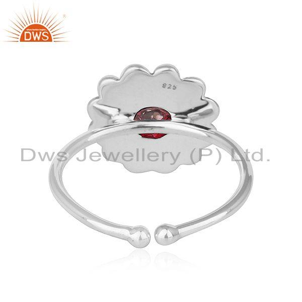 Suppliers Pink Topaz Gemstone Womens Antique Oxidized Silver Ring Jewelry