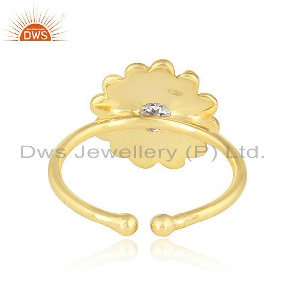 Suppliers Pink Topaz Gemstone Adjustable Gold Plated 925 Silver Designer Rings