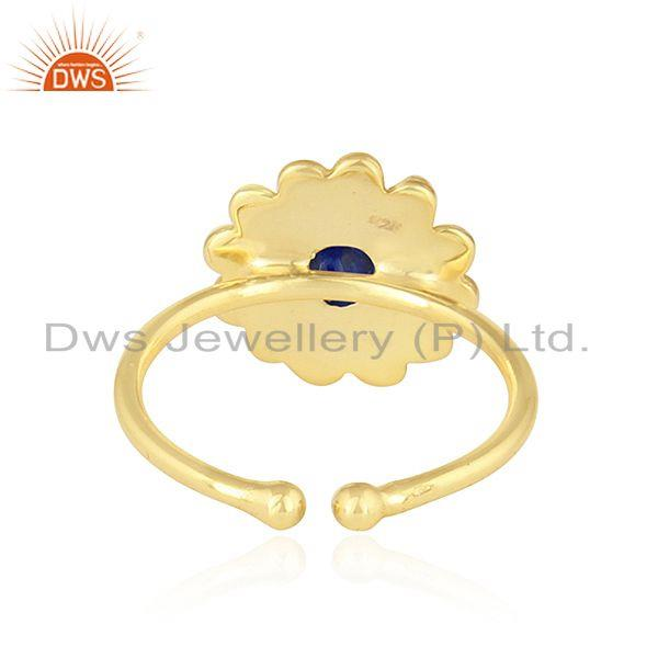 Suppliers Natural Lapis Lazuli Gemstone 18k Gold Plated 925 Silver Ring Jewelry