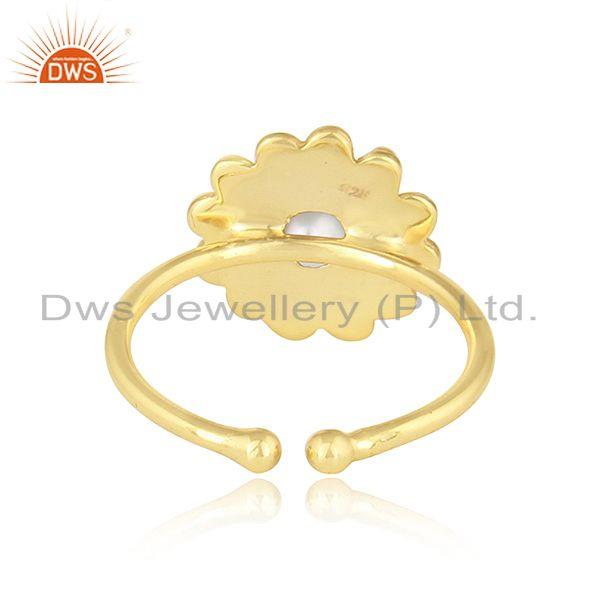 Suppliers Round Design 18k Yellow Gold Plated Silver Natural Pearl Ring Jewelry