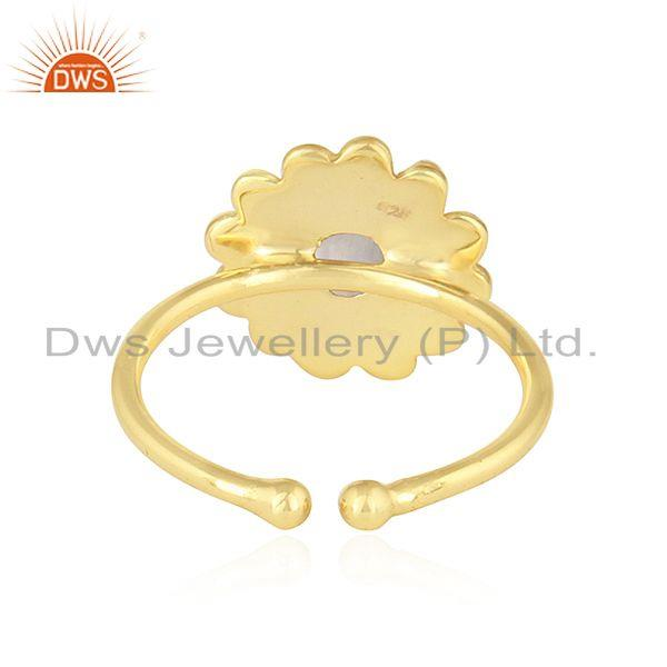 Suppliers Rainbow Moonstone 18k Yellow Gold Plated 925 Silver Adjustable Rings