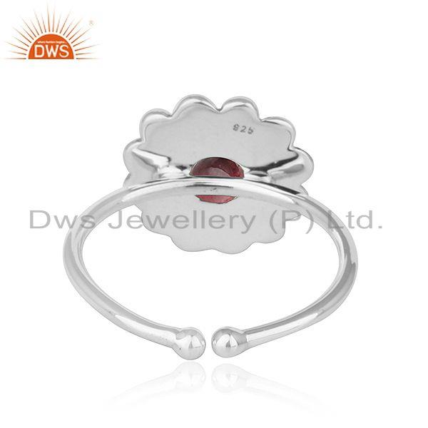 Suppliers Flower Designer Oxidized Plated Silver Pink Tourmaline Gemstone Rings