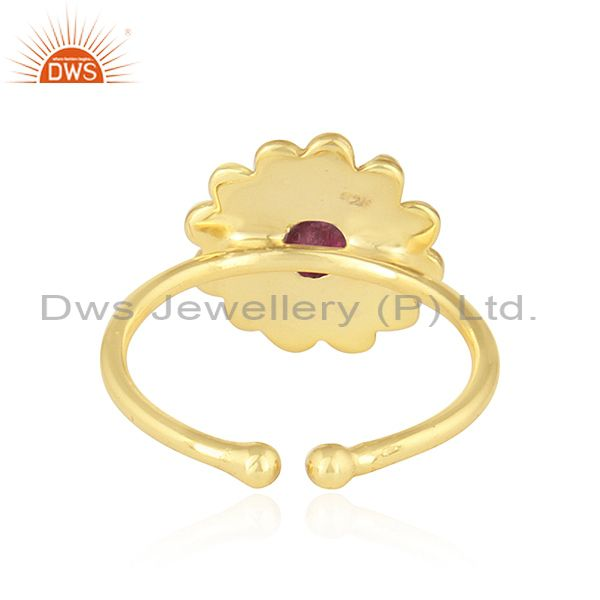 Suppliers Pink Tourmaline Gemstone Flower Design Gold Plated Silver Rings