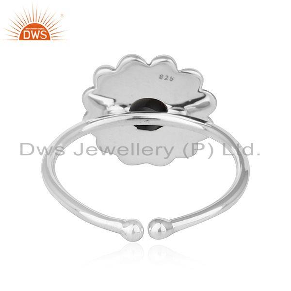 Suppliers Black Onyx Gemstone Womens Flower Designer Oxidized Silver Rings