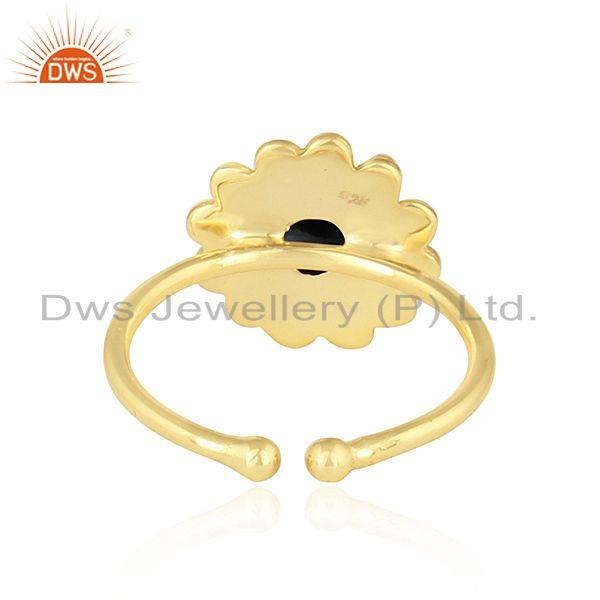 Suppliers Flower Design 18k Gold Plated 925 Silver Black Onyx Gemstone Rings