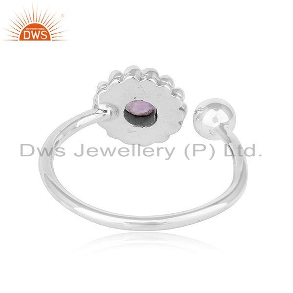 Suppliers Amethyst Gemstone Handmade Design 925 Silver Oxidized Ring Jewelry