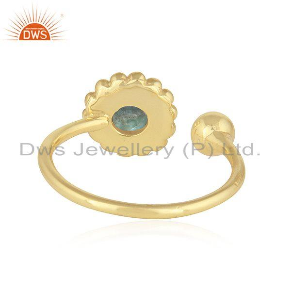 Suppliers Apatite Gemstone 18k Yellow Gold Plated 925 Silver Rings Jewelry