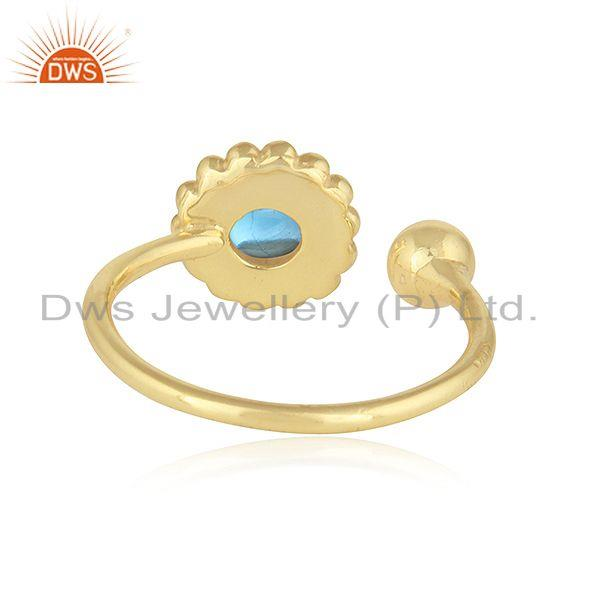 Suppliers Blue Topaz Gemstone Flower Design Gold Plated 925 Silver Rings Jewelry