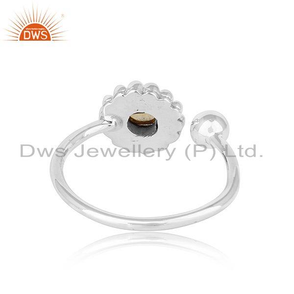 Suppliers Flower Design Oxidized Silver Natural Citrine Gemstone Ring Jewelry