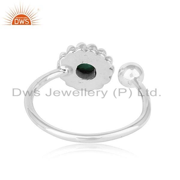 Suppliers Natural Emerald Stone Oxidized Plated Sterling Silver Designer Rings