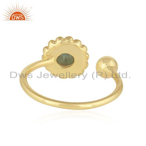 Suppliers Flower Design 18k Gold Plated 925 Silver Emerald Gemstone Rings