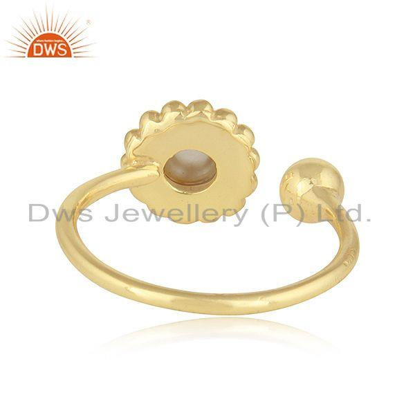 Suppliers Pink Topaz Gemstone Flower Adjustable Gold Plated 925 Silver Rings