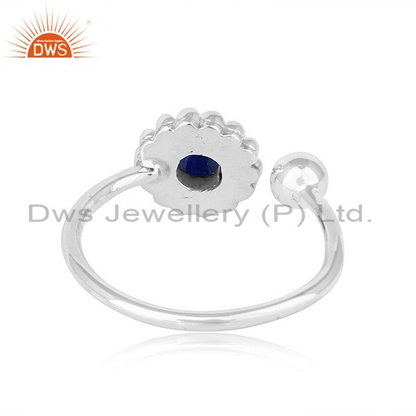 Suppliers Lapis Lazuli Gemstone Flower Antique Design Oxidized Silver Rings
