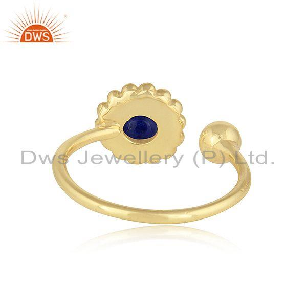 Suppliers Lapis Lazuli Flower Design Handmade Gold Plated 925 Silver Rings