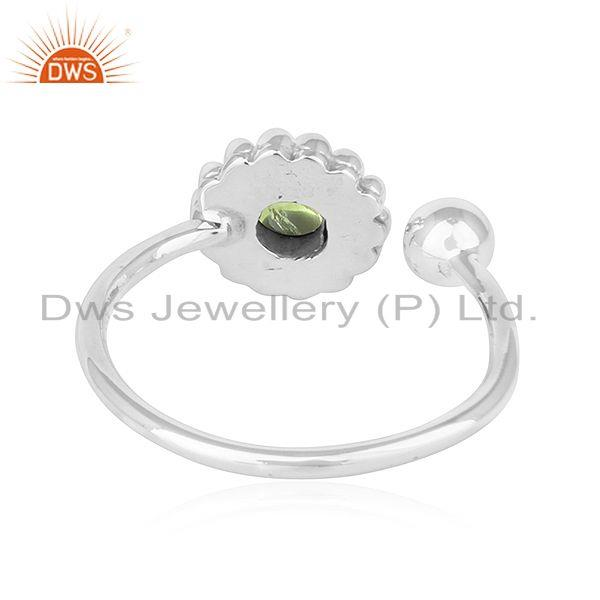 Suppliers Peridot Gemstone New Adjustable Oxidized Plated 925 Silver Rings