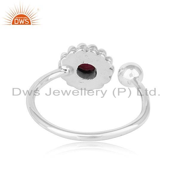 Suppliers Natural Ruby Stone Designer Oxidized Antique 92.5 Silver Rings Jewelry