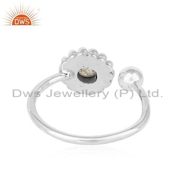 Suppliers Rainbow Moonstone Flower Designer Adjustable Oxidized Silver Rings