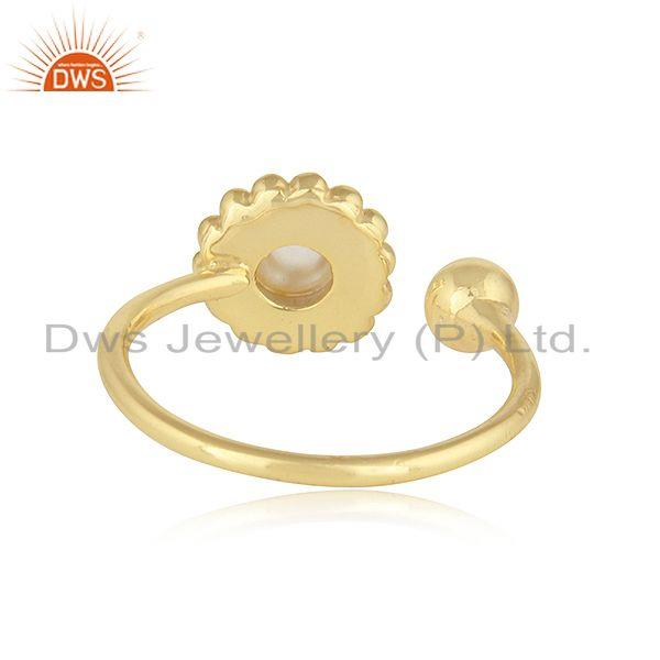 Suppliers Rainbow Moonstone Womens Gold Plated 925 Silver Flower Design Rings
