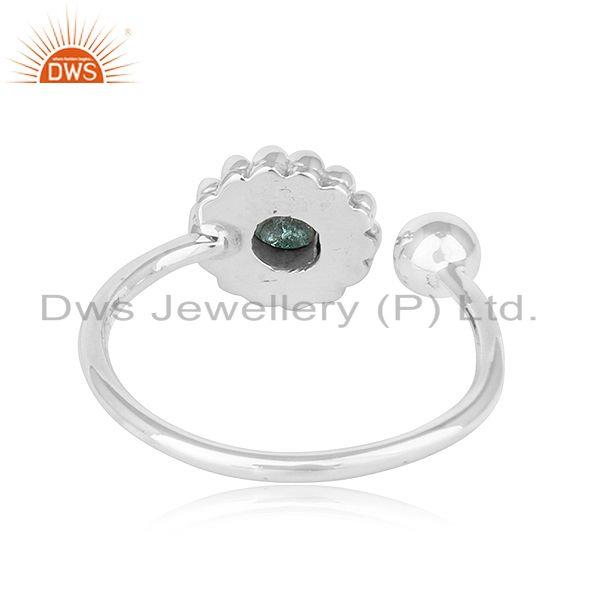 Suppliers Green Tourmaline Gemstone Adjustable Antique Oxidized Silver Rings