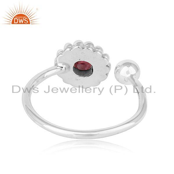 Suppliers Natural Pink Tourmaline Gemstone Womens Oxidized Plated Silver Rings
