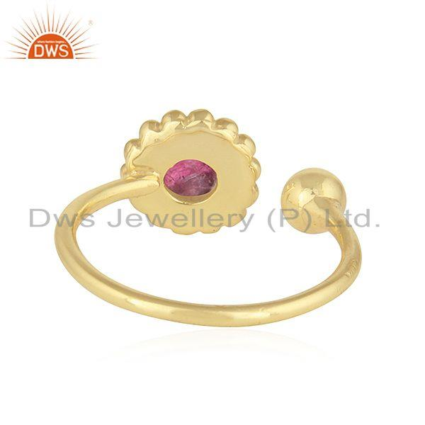 Suppliers Pink Tourmaline Gemstone Designer 925 Silver Gold Plated Rings Jewelry
