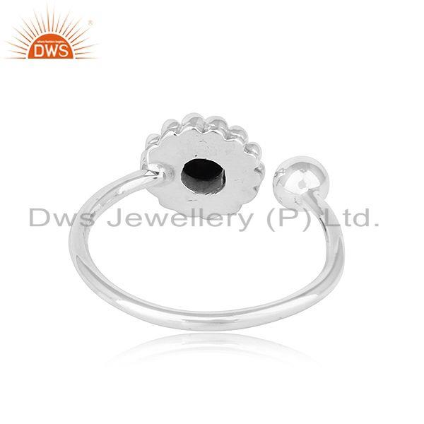 Suppliers Natural Black Onyx Gemstone Flower Design Oxidized Finish Silver Rings