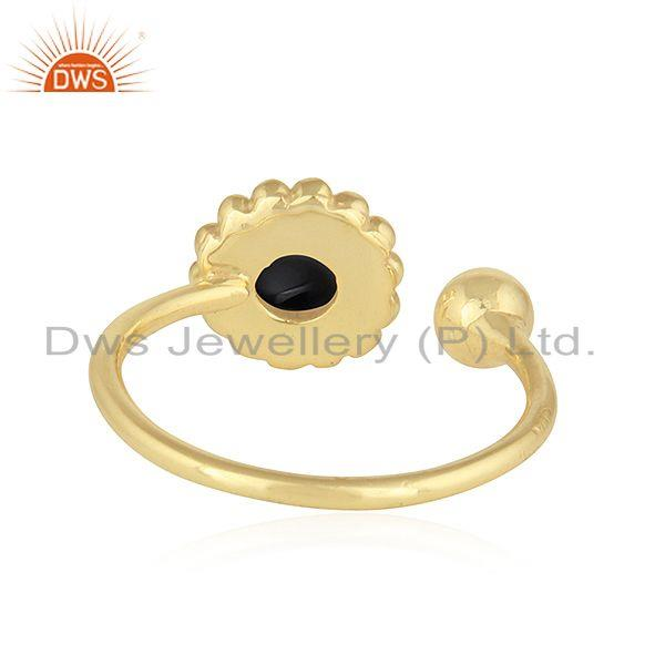 Suppliers Flower Design 18k Gold Plated Silver Black Onyx Gemstone Ring Jewelry