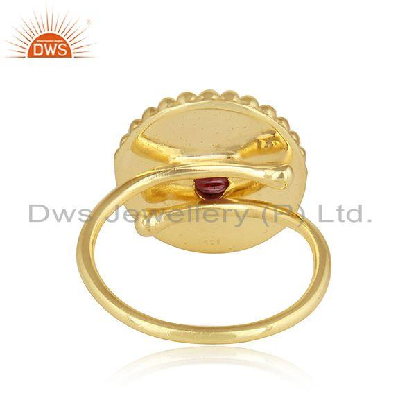 Suppliers Hand Craved Gold Plated 925 Silver Garnet Gemstone Ring Jewelry