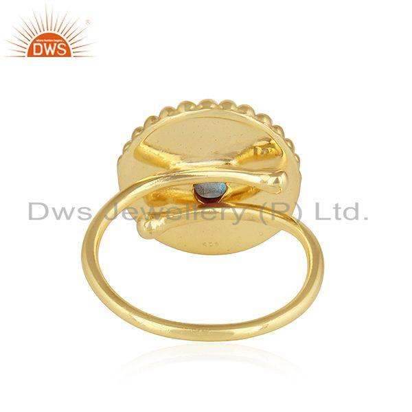 Designer of Indian 18k yellow gold plated silver labradorite gemstone ring jewelry
