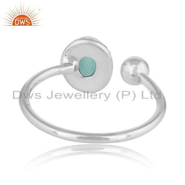 Designer of 925 sterling silver aqua chalcedony gemstone womens rings jewelry