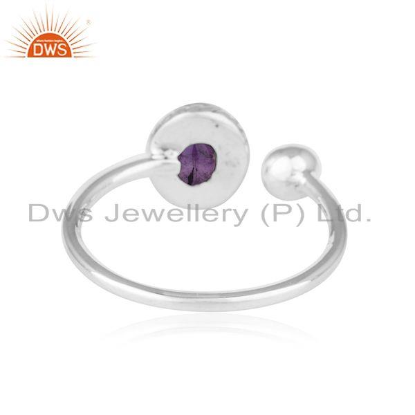 Suppliers Antique Oxidized Sterling Silver Amethyst Gemstone Ring Jewelry
