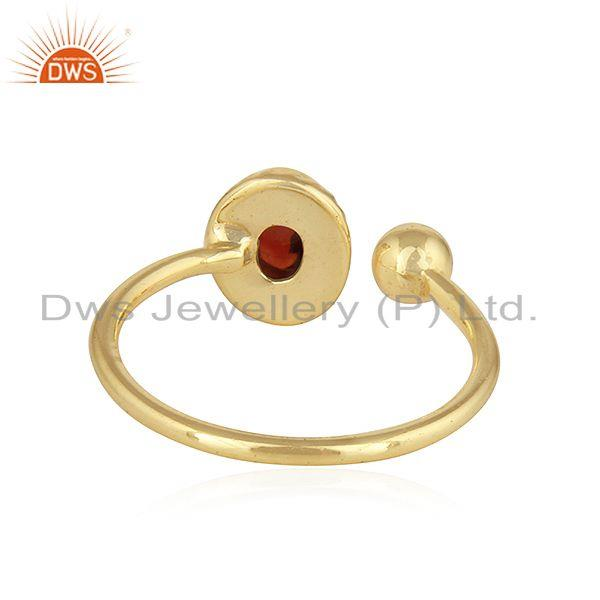 Suppliers Natural Garnet 18k Yellow Gold Plated Designer Silver Ring Jewelry