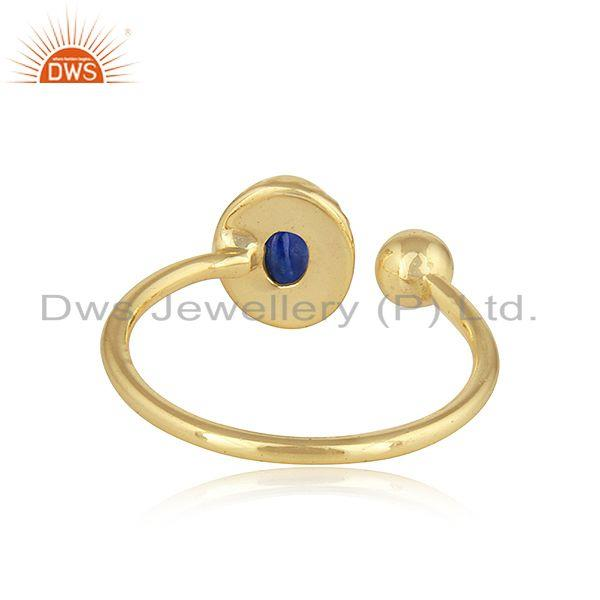 Suppliers Lapis Lazuli Gemstone Hanmdade Design 18k Gold Plated Silver Rings