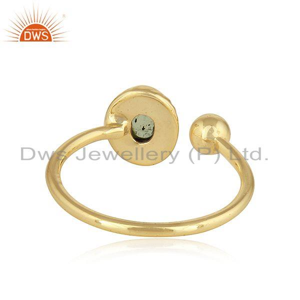 Suppliers Peridot Gemstone Yellow Gold Plated Designer Silver Ring For Womens