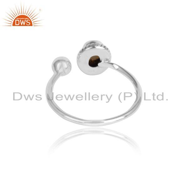 Designer of Natural pearl gemstone oxidized 925 sterling silver ring jewelry