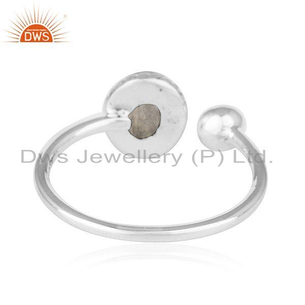 Suppliers Rainbow Moonstone 92.5 Sterling Silver Oxidized Plated Ring For Womens