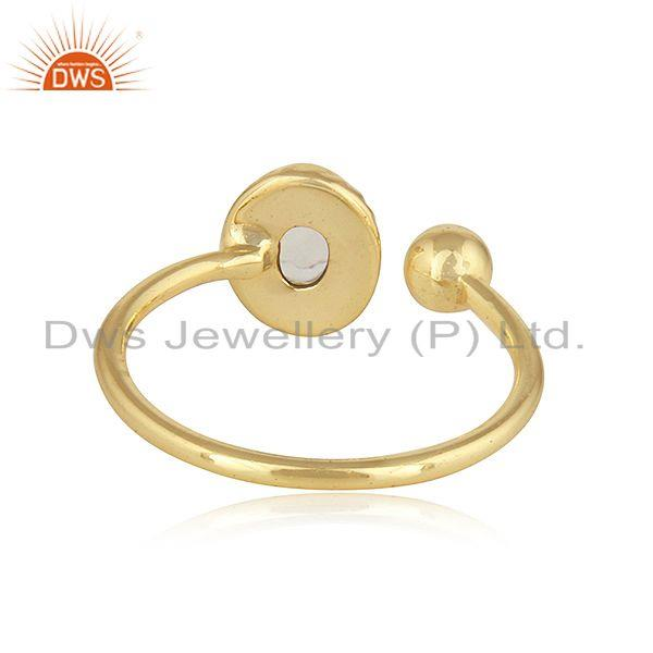Suppliers Rainbow Moonstone 18k Yellow Gold Plated Designer 925 Silver Rings