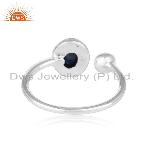 Suppliers Natural Blue Sapphire Gemstone Designer Oxidized Silver Ring Jewelry