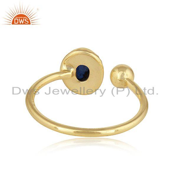 Suppliers Natural Blue Sapphire Designer Gold Plated 925 Silver Ring Jewelry