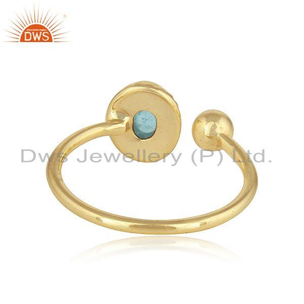 Suppliers Arizona Turquoise Gemstone 925 Silver Gold Plated Designer Rings